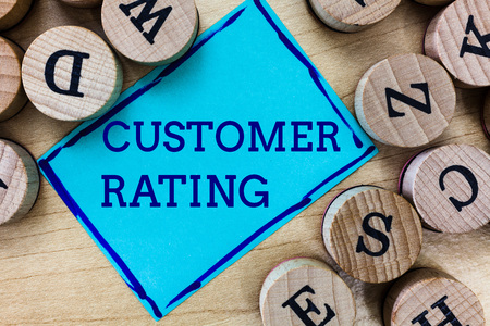 Word writing text Customer Rating. Business concept for Each point of the customers enhances the experience. Stok Fotoğraf