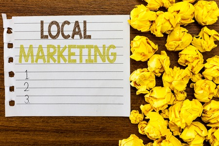 Handwriting text Local Marketing. Concept meaning A local business where a product buy and sell in area base.