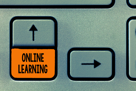 Text sign showing Online Learning. Conceptual photo Larning with the assistance of the Internet and a computer. Stock fotó