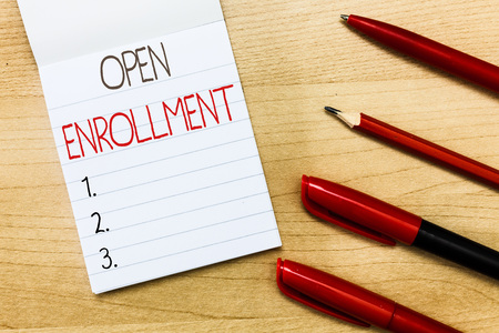 Conceptual hand writing showing Open Enrollment. Business photo text The yearly period when people can enroll an insurance.