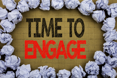 Time To Engage. Business concept for Engagement Involvement written on vintage background with space on old background with folded paper balls Stockfoto