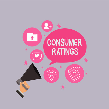 Word writing text Consumer Ratings. Business concept for feedback given by clients after buying product or service.