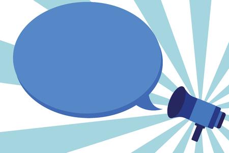 Concepto de ilustración de vector de negocio de diseño plano Texto de espacio de plantilla vacía para sitio web de promoción y anuncio publicitario. Megáfono anuncia Proclamar retransmisión Declarar altavoz Subtítulo de bocadillo