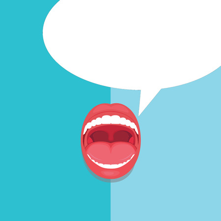 Flat design business Vector Illustration Empty template esp isolated Minimalist graphic layout template for advertising. Open Mouth Expressive Surprise Gaping Red Lips Teeth Blank Speech Bubble Çizim