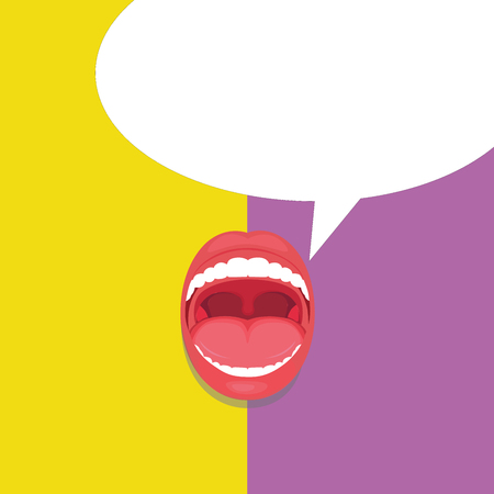 Flat design business Vector Illustration Empty copy space for Ad website promotion esp isolated Banner template. Open Mouth Expressive Surprise Gaping Red Lips Teeth Blank Speech Bubble