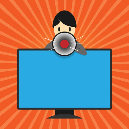 Flat design Vector Illustration Empty esp template copy text for Ad, promotion, poster, flyer, web banner, article. Man Standing Behind mounted PC Monitor Screen Talking and Holding Megaphone