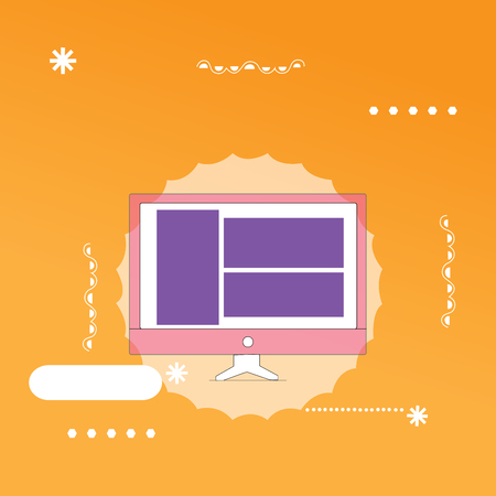 Flat design business Vector Illustration concept Empty template space text For promotion website and advertising Ad. Website Page Layout on Computer Monitor Screen Mounted Hardware Device