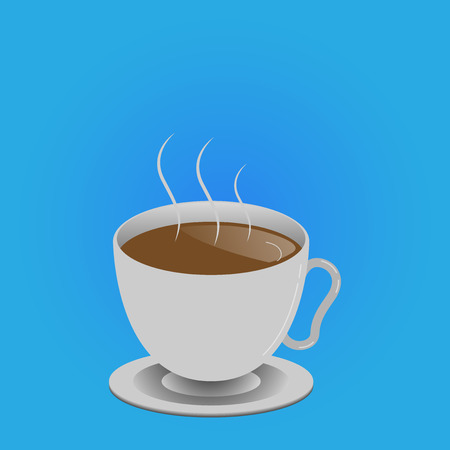 Flat design business Vector Illustration Empty copy space for Ad website promotion esp isolated Banner template. Levitating Cup of Hot Steaming Drink with Saucer Zero Gravity Dishware