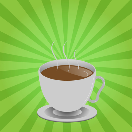 Flat design business Vector Illustration Empty template Layout for invitation greeting card promotion poster voucher. Levitating Cup of Hot Steaming Drink with Saucer Zero Gravity Dishware Imagens - 110096474