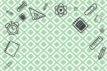 Illustrazione vettoriale di design piatto testo copia modello vuoto esp per annuncio, promozione, poster, flyer, banner web, articolo. Forniture scolastiche sparse sul bordo superiore e laterale con spazio centrale Vettoriali
