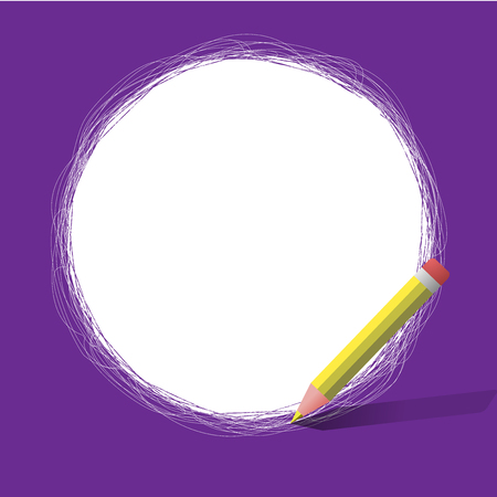 Flat design business Vector Illustration Empty copy space for Ad website promotion esp isolated Banner template. Freehand Scribbling of circular lines Using Pencil on White Solid Circle Vettoriali