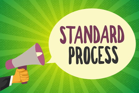 Handwriting text writing Standard Process. Concept meaning rules made to be matched with final product quality. Stockfoto