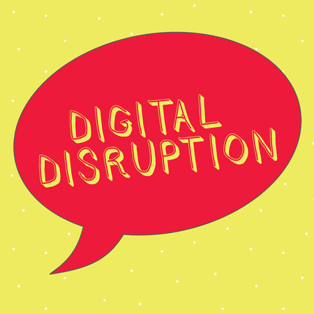 Word writing text Digital Disruption. Business concept for Changes that affect technology markets Product makeover. Stock Photo
