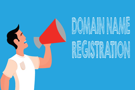 Word writing text Domain Name Registration. Business concept for Own an IP Address Identify a particular Webpage .