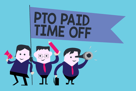 Conceptual hand writing showing Pto Paid Time Off. Business photo text Employer grants compensation for personal leave holidays. Stockfoto