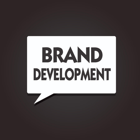 Text sign showing Brand Development. Conceptual photo Defining the product to excel in the market Promoting. Reklamní fotografie
