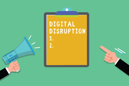 Writing note showing Digital Disruption. Business photo showcasing Changes that affect technology markets Product makeover. Foto de archivo