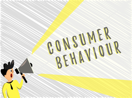 Word writing text Consumer Behaviour. Business concept for Decisions that people make to buy or not to buy a product.