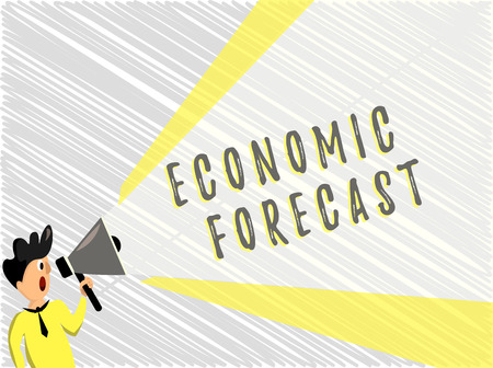 Word writing text Economic Forecast. Business concept for Process of making predictions about the economy condition. Stock Photo