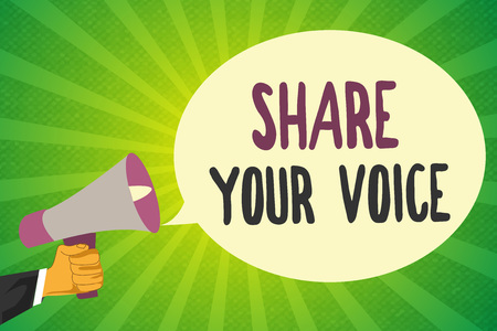 Handwriting text writing Share Your Voice.