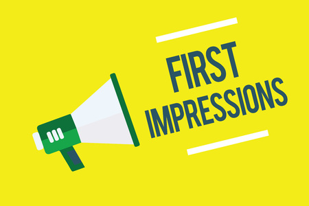 Writing note showing First Impressions. Business photo showcasing What a person thinks of you when they first meet you Megaphone yellow background important message speaking loud Banque d'images - 108211634