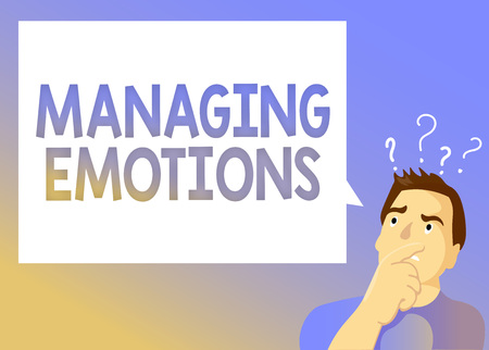 Text sign showing Managing Emotions. Conceptual photo Controlling feelings in oneself Maintain composure. Foto de archivo - 108260618