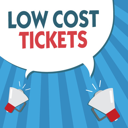 Word writing text Low Cost Tickets. Business concept for small paper bought to provide access to service or show. Stok Fotoğraf