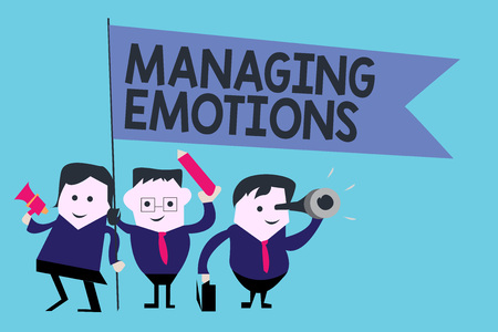 Conceptual hand writing showing Managing Emotions. Business photo text Controlling feelings in oneself Maintain composure. Foto de archivo - 108261108