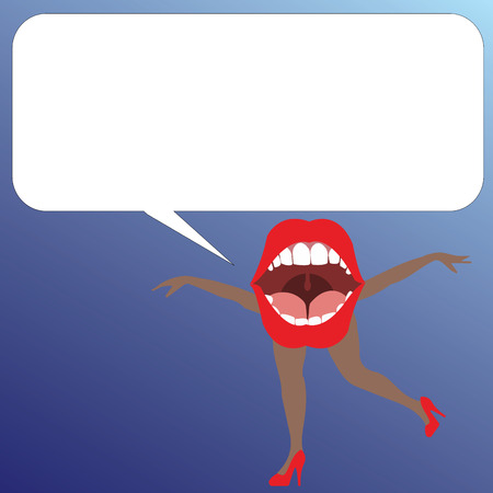 Flat design business Vector Illustration concept template copy space text for Ad website esp isolated 3d isometric. Open Mouth with arms and legs Singing Dancing Blank white Speech Bubble