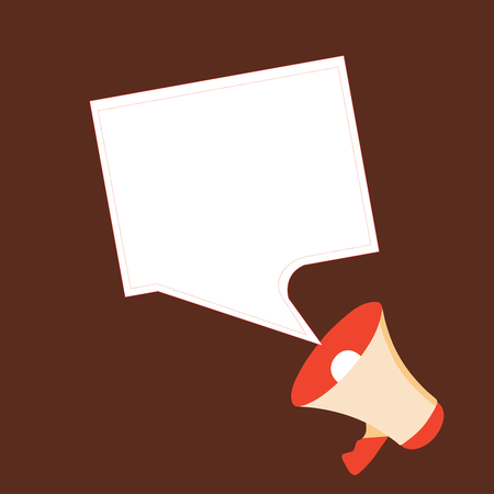 Flat design business Vector Illustration Empty template esp isolated Minimalist graphic layout template for advertising. Megaphone and Blank Bordered Square Speech Bubble Public Announcement Illustration