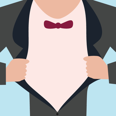 Flat design business Vector Illustration concept Empty template copy space Posters coupons promotional material. Man wearing Formal Suit Opening Half of his Tuxedo Jacket Coat wider