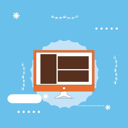 Concepto de ilustración de vector de negocio de diseño plano copiar texto para esp Web banners material promocional maqueta plantilla. Diseño de la página del sitio web en el dispositivo de hardware montado en la pantalla del monitor de la computadora