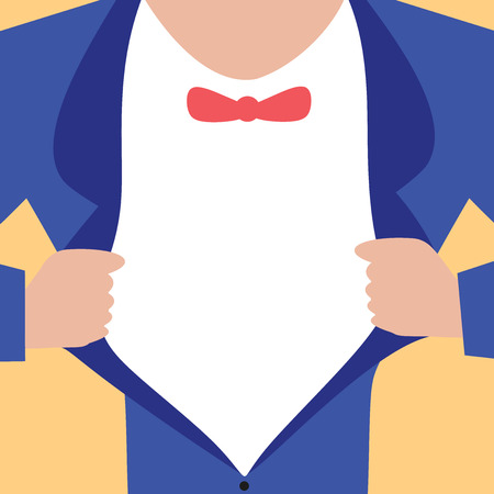 Flat design business Vector Illustration concept Empty template space text For promotion website and advertising Ad. Man wearing Formal Suit Opening Half of his Tuxedo Jacket Coat wider