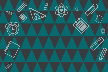 Design plat entreprise Vector Illustration concept copie de texte pour le matériel promotionnel de bannières Web esp modèle de maquette. Fournitures scolaires dispersées sur la bordure supérieure et latérale avec un espace central Vecteurs