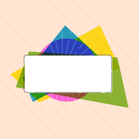 Flat design business Vector Illustration concept copy text for esp Web banners promotional material mock up template. Rectangular Shape Form in Solid white on top of Colorful Acetate strip