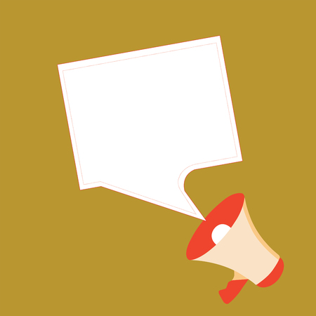 Flat design business Vector Illustration Empty copy space for Ad website promotion esp isolated Banner template. Megaphone and Blank Bordered Square Speech Bubble Public Announcement Illustration