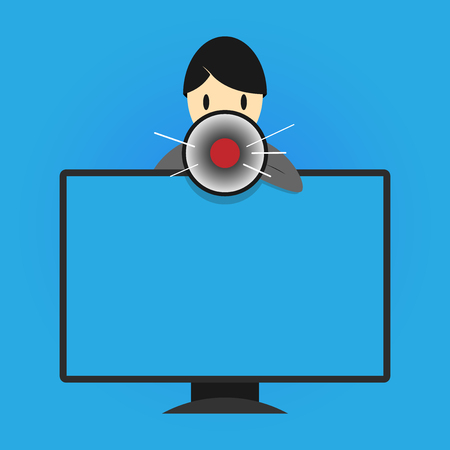 Flat design business Vector Illustration Empty copy space for Ad website promotion esp isolated Banner template. Man Standing Behind mounted PC Monitor Screen Talking and Holding Megaphone