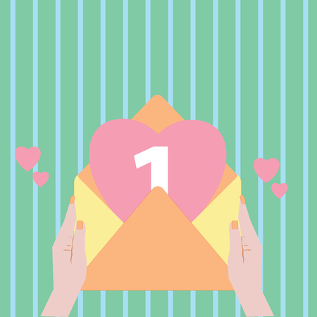 Flat design business Vector Illustration concept copy text for esp Web banners promotional material mock up template. Female Human Hand Holding an Open Envelope with Big Heart coming out