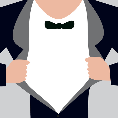 Flat design business Vector Illustration Empty template esp isolated Minimalist graphic layout template for advertising. Man wearing Formal Suit Opening Half of his Tuxedo Jacket Coat wider Stock Vector - 108295561