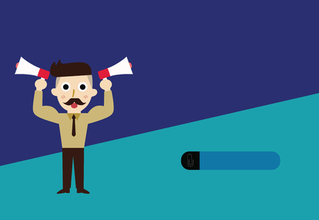 Flat design business Vector Illustration concept Empty copy space modern abstract background Geometric element. Bearded Man with necktie Raise up Arms Holding Two Megaphone Sideways Banque d'images - 109970312