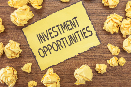 Text sign showing Investment Opportunities. Conceptual photo a Purchase that has a chance to Gain Value. Stock Photo