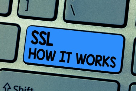 Text sign showing Ssl How It Works. Conceptual photo session key is used to encrypt all transmitted data.