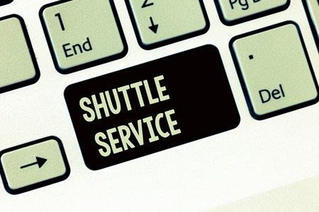 Handwriting text writing Shuttle Service. Concept meaning vehicles like buses travel frequently between two places. Reklamní fotografie
