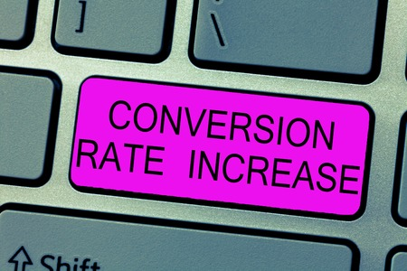 Text sign showing Conversion Rate Increase. Conceptual photo Ratio of Total Visitors who perform desired actions. Foto de archivo