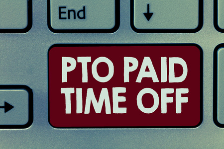 Handwriting text Pto Paid Time Off. Concept meaning Employer grants compensation for personal leave holidays. Stockfoto - 108302848