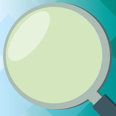 Flat design business Vector Illustration concept Empty template copy space Posters coupons promotional material. Close Up Shot of Magnifying Glass with Light Reflection Magnifier Tool