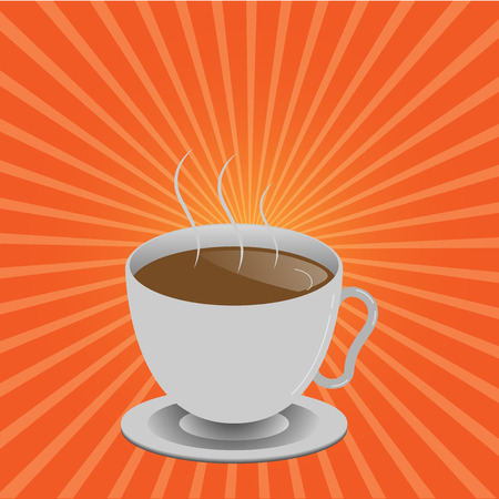 Flat design Vector Illustration Empty esp template copy text for Ad, promotion, poster, flyer, web banner, article. Levitating Cup of Hot Steaming Drink with Saucer Zero Gravity Dishware Imagens - 109924209
