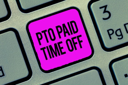 Conceptual hand writing showing Pto Paid Time Off. Business photo showcasing Employer grants compensation for personal leave holidays. Stockfoto