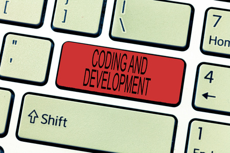 Word writing text Coding And Development. Business concept for Programming Building simple assembly Programs.
