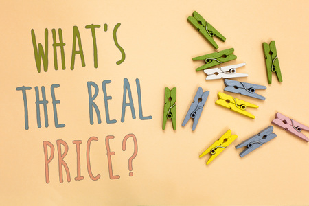 Text sign showing What s is The Real Price question. Conceptual photo Give actual value of property or business Yellow base with painted texts colorful paper clips laid randomly on ground Stock fotó